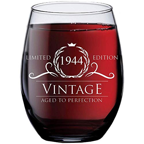 1944 76th Birthday Gifts for Women Men - 15 oz Stemless Wine Glass - 76 Year Old Gift Present Ideas for Mom Dad - Funny Vintage Unique Personalized - Party Anniversary Reunion Decorations Supplies