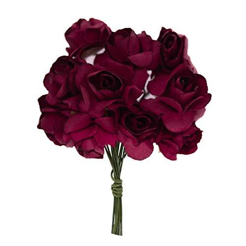 1 Bündel je 12 Rosen Röschen, Länge 7cm, Dekoration, Floristik, Farbe wählbar, Farbe:bordeaux
