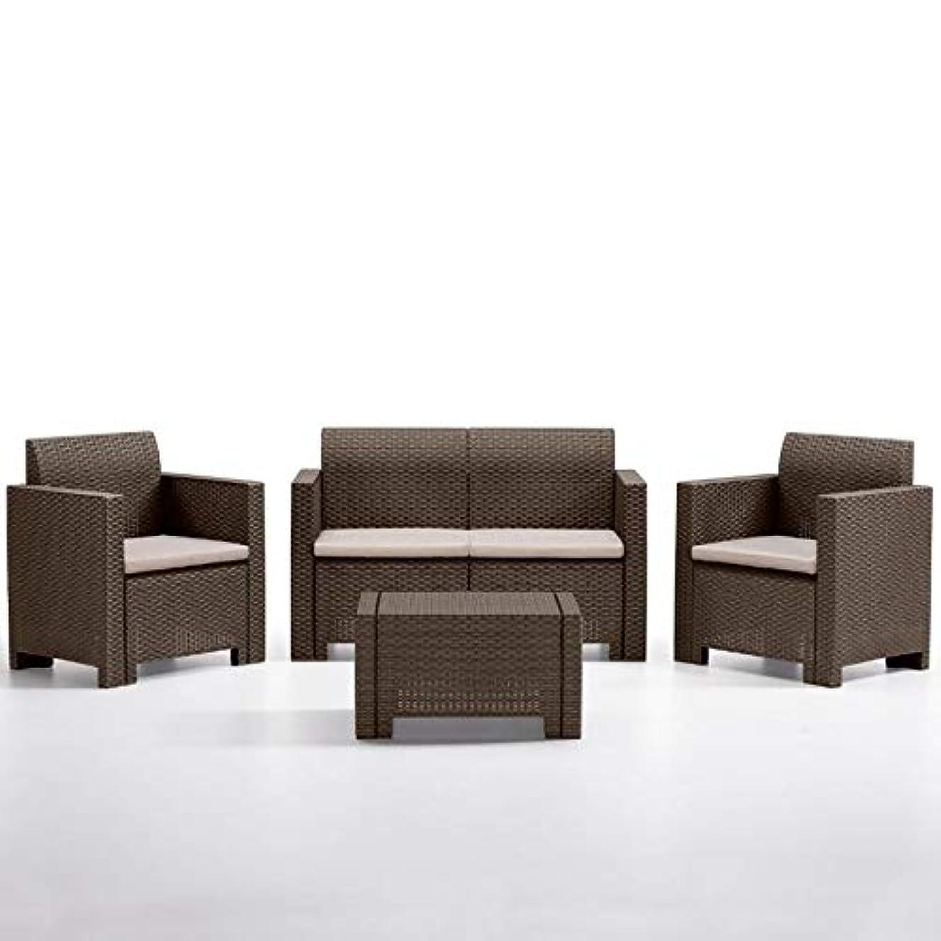 名前を作るパーツ幸運なガーデンテーブルセット ソファ4点セット NEW STAR SET モカ (樹脂 ラタン調 屋外 イス テーブル ガーデン バルコニー イタリア製)