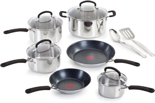 T-fal C774SC64 Stainless Steel with Thermo-Spot Heat Indicator Dishwasher Safe 12-Piece Cookware Set, Silver: Kitchen & Dining