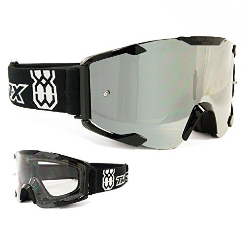 TWO-X Bomb Crossbrille schwarz Glas verspiegelt Silber MX Brille Motocross Enduro Spiegelglas Motorradbrille Anti Scratch MX Schutzbrille