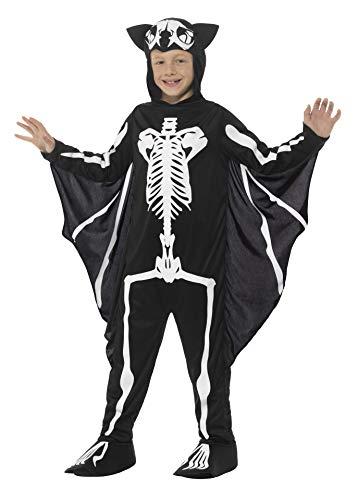 Smiffys-45123M Disfraz de Esqueleto de murciélago, con Traje Entero con Capucha y alas p, Color Negro y Blanco, M-Edad 7-9 años (Smiffy