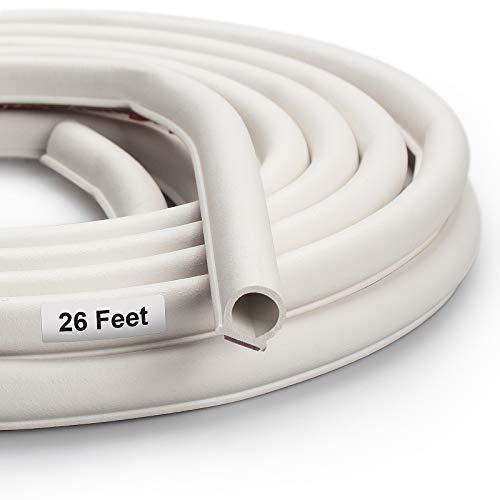 Weather Stripping Seal Strip for Doors/Windows 26 Feet, Self-Adhesive Backing Seals Large Gap, Easy Cut to Size (26 Feet) (White)