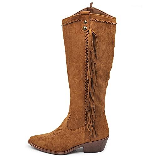 Texani Cowboy Western - Botas de mujer con flecos...