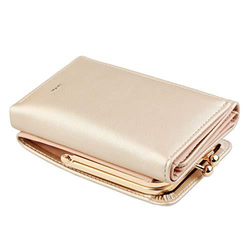 Brieftasche Frauen Neue Dame Kurze Frauen Brieftaschen Schwarz Rot Farbe Mini Geldbörsen Kleine Falte Pu-Leder Weibliche Geldbörse Kartenhalter Gold