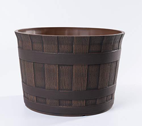 Jinfa | Maceta de plástico en Forma de Barril de Vino | Marrón Oscuro | Diámetro: Ø 36 cm | Altura: 25 cm | Ideal para Jardines, Interiores