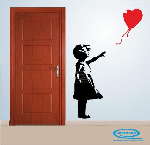 Wandtattoo Banksy Art Mädchen mit Luftballon 2 Farbig !!BESCHREIBUNG BEACHTEN BITTE!! - ca. 54 x 120 cm (bxh) - SCHWARZ