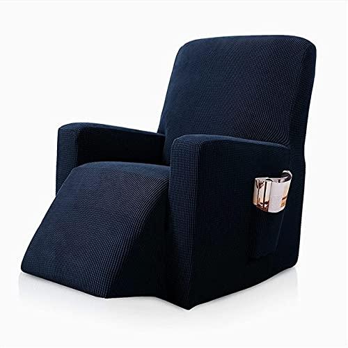 Funda De SillóN,Funda De Sofa Cubierta de Silla de reclinación Masaje Todo Incluido Sofá reclinado Sofá Cubierta para Sala de Estar (Color : Navy Blue)