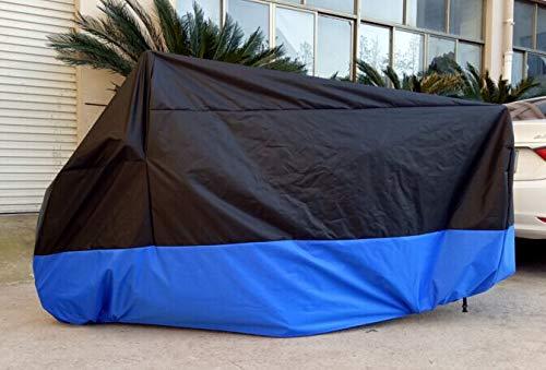 Motorradabdeckung Motorrad Abdeckplane, Winter wasserdicht Roller Regenschutz Sonnenschutz für Alle Motorräder (Schwarz und Blau) (XL: 245 * 105 * 125CM)