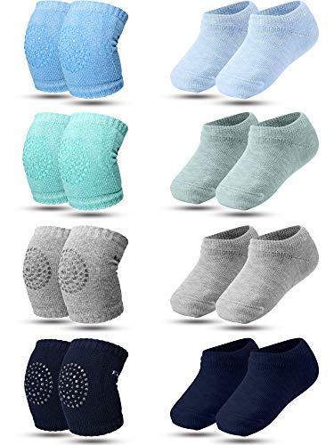 SATINIOR 8 Pairs Crawling Knee Pad Non-Slip Socks Set Knee Protector Toddler Leg Warmer Unisex Soft Cotton Socks for Baby Toddler (Green, Light Gray, Blue and Dark Blue), Medium