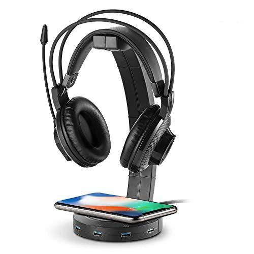 azorex Soporte para Auriculares Gaming RGB con Cargador Inalámbrico Cargador Rápido 10W y Puertos USB 3.0 para Escritorio PC Gaming Video Juegos