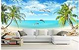 MKmd-s Decoración del hogar del papel pintado mural 3D personalizado, pájaros del vuelo del árbol de coco del mar del amor de Hd