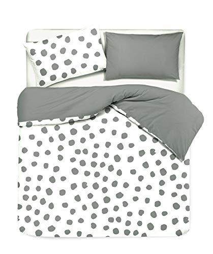 Novilunio - Juego de funda nórdica con fundas de almohada de doble cara, estampado digital, 100 % algodón, fabricado en Italia, individual Dot Maxi gris