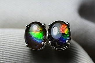 Ammolite Earrings Pair #95 Alberta Canada Jewelry Jewellery 9x7mm Oval Cabochon Sterling Silver Ammolite Stud Earrings