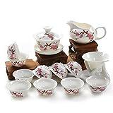 YANGYUAN Flor de Durazno Patternn Porcelana Servicios de té, de cerámica 13 Piezas Kung Fu Chino Juego de té, (Rosa Blanco)