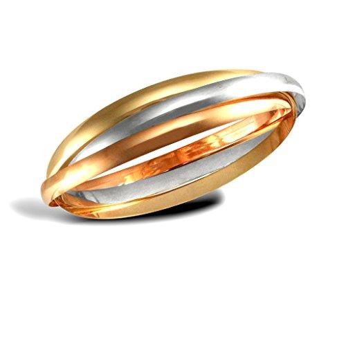9ct 3Farbe Gold 4mm Russische Hochzeit Armreif