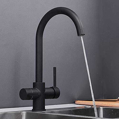 FWZZQ - Rubinetto da cucina a 3 vie, in granito, nero, girevole a 360°, con 2 leve, per sistema di osmosi, acqua potabile, in ottone
