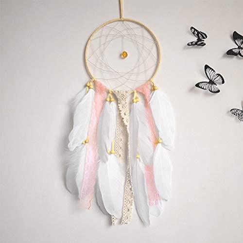 """OFNMY Handmade Feathers Dream Catcher Pink Kids 6.3"""" x 21"""" Indian Dreamcatcher Wall Hanging Home Garden Decor"""