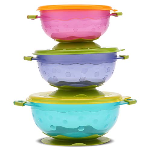 ZJL220 3Pcs/Set Baby Suction Cup Food Bowls with Lid Spill-proof Drop Resistance Sucker Dinner Plate Infant Learning Feeding Dish Tableware