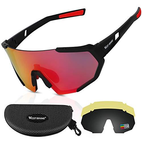 ICOCOPRO Polarisierte Sportbrillen UV400 Fahrradbrille Sonnenbrille, verstellbares Nasenpolster & TR90 Unzerbrechlicher Rahmen für Herren Damen Radfahren Fahren Motorrad Golf