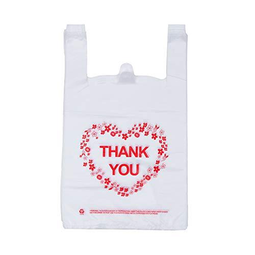 Thank You T Shirt Bags, LazyMe Bolsas De Plastico Para Negocio, Plastic Grocery Bags White Sturdy Handled Merchandise Bags, Standard Supermarket Size, 12 x 20 Inches (50 pcs)