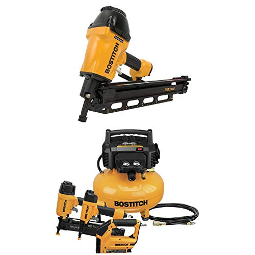 BOSTITCH Framing Nailer, Round Head, 1-1/2-Inch to 3-1/2-Inch (F21PL) & Air Compressor Combo Kit, 3-Tool (BTFP3KIT)
