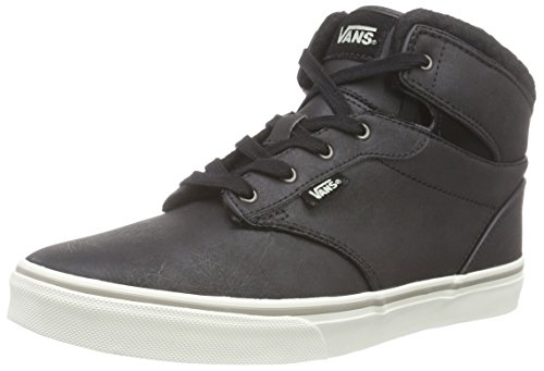 Vans Unisex-Kinder Y Atwood Hi Low-top, Grau (Leather/Black/Aluminum), 28 EU