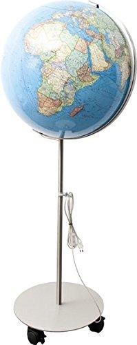 COLUMBUS DUO: Standglobus, handkaschiert, politisch/physisch, 51 cm Durchmesser, Fuß und Meridian edelstahl, ting-kompatibel, TING: Informationen über Bevölkerungszahlen und Haupstädte