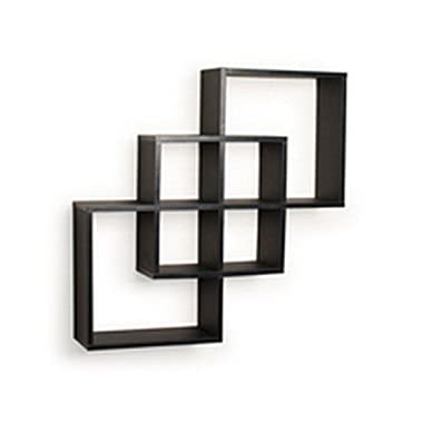 Danya B. FF6013B Decorative Contemporary Floating Intersecting Square Cube Wall Shelves - Black