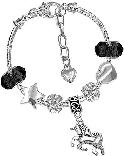 TIANYOU Io Ajustable Encantos Pulsera Brazalete Bangle Flower Beads para Las Mujeres Regalo de la Niña con la Cadena de Serpiente Plateada de Plata 19 cm Desgaste Diario/G