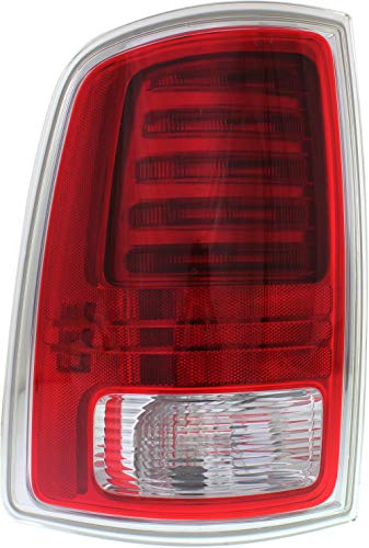 Tail Light Compatible with DODGE RAM FULL SIZE P/U 2013-2018 LH Assembly Premium Type Chrome Interior Clear/Red Lens All Cab Types - CAPA
