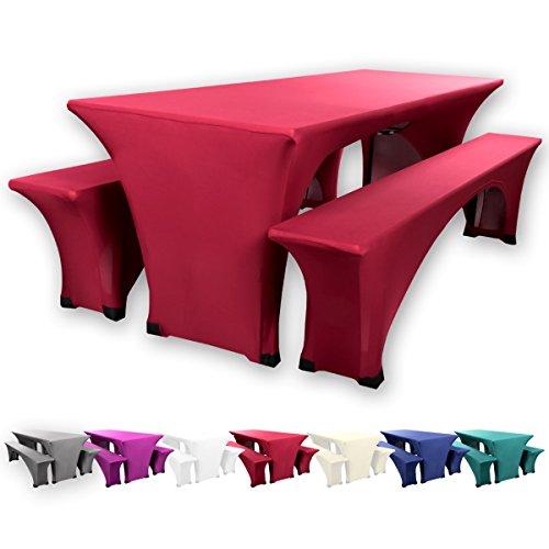 Gräfenstayn® Leopold Stretch - Biertischhussen-Set 3 tlg für Bierzeltgarnitur - 50cm oder 70cm Tischbreite - mit Öko-Tex Siegel Standard 100 :'Geprüftes Vertrauen' 30567 (Bordeaux, 70x220cm)