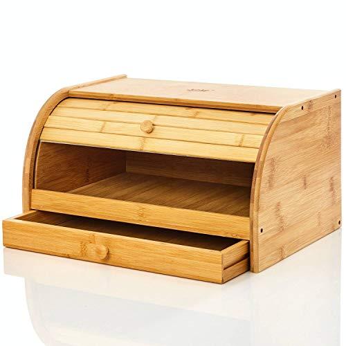 bambuswald© Brotbox aus 100% Bambus & mit extra Schublade | Rolldeckel ca. 40x27x16cm - Brotkasten Brotaufbewahrung Brotbehälter Rollbrotkasten Holz