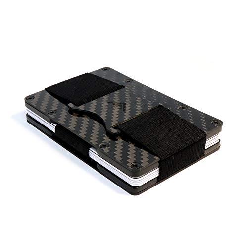 STEALTH Wallet Tarjetero RFID Minimalista - Carteras de Tarjetas Compactas con Bloqueo NFC con Seguridad (Fibra de Carbono con Eyector de Lengüeta Lateral y Almacenamiento de Efectivo Elástico)