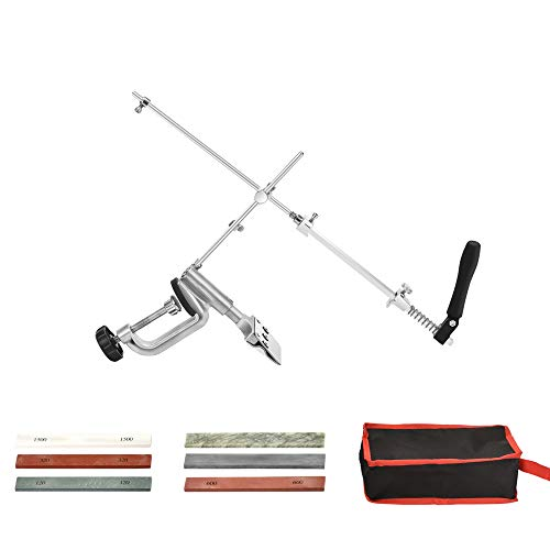 Afilador de Cuchillos Profesional, Vogvigo Sistema de Afilado de Cuchillos Profesional,Diseño Giratorio de Acero Inoxidable con Rotación de 360 °,con 6 Piedras de Afilar, para Cocina Doméstica