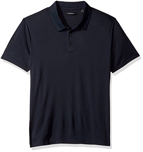 AXIST Men's Short Sleeve Diamond 3 Button Polo with Birdseye Collar, Dark Sapphire, XX-Large