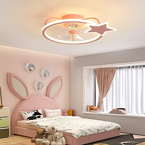 HAITOY Ventilador de Techo Luz con LED Iluminación, Luz de Techo de Estrella de Cinco Puntas, Moderno Regulable para Silencioso Niños Dormitorio Iluminación Decorativo,Rojo