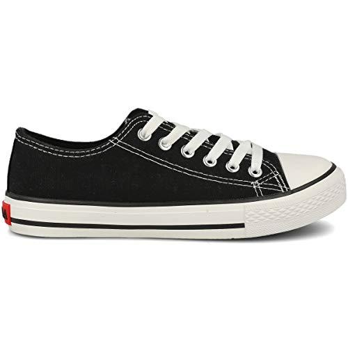 PAYMA - Zapatillas Bambas Botas de Lona Mujer. Puntera de Goma. Playeras de Deporte Casual y Caminar. Color: Negro Bajas Piso Sencillo. Talla 42