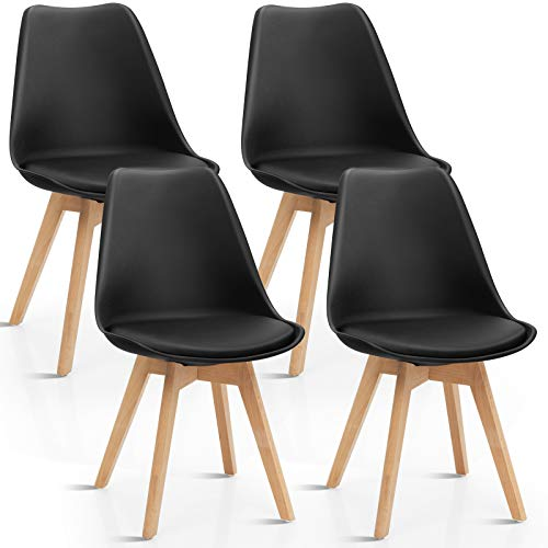 Giantex Set of 4 Modern Dining Chairs, High Backrest Kitchen Chairs, Elegant Mid Century Side Chairs w/Padded Seat, Solid Wood Legs, Upholstered Tulip Chair for Dining Room, Living Room (Black)