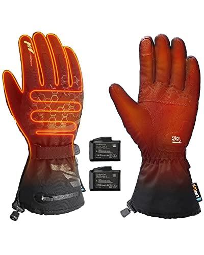 Beheizbare Handschuhe, Beheizte Handschuhe Winter, Akku beheizbare Handschuhe mit 2500mAh Wiederaufladbare Lithium-Ionen-Batterie, 3-Stufen-Temperaturregelung, Touchscreen