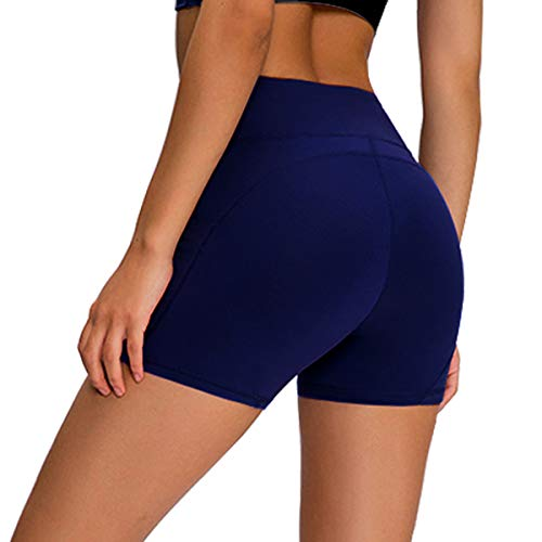 Damen Workout Yoga Shorts versteckte Tasche – Premium Buttery Soft Solid Stretch Cheerleader Running Dance Volleyball Kurze Hose - blau - Groß