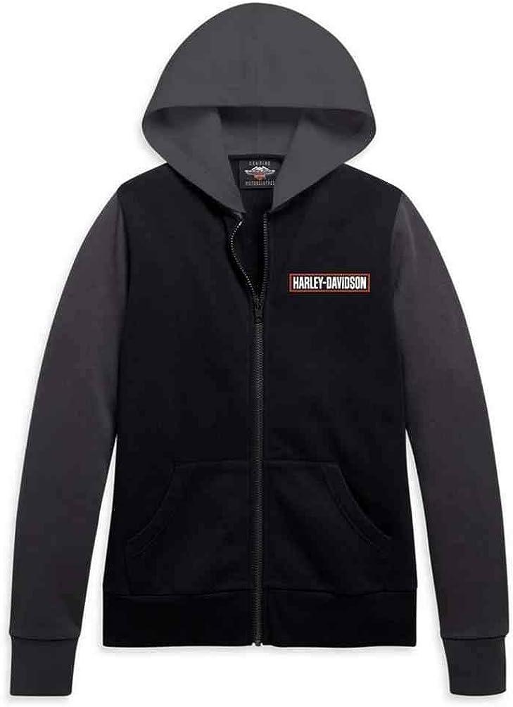 Harley-Davidson Women's Colorblocked Full-Zip Fleece Hoodie, Black 96219-21VW