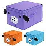 homyfort Niños Juguetes Caja de Tela para Almacenaje con Motivos Colorido, Set de 3 Gran Cajas de...