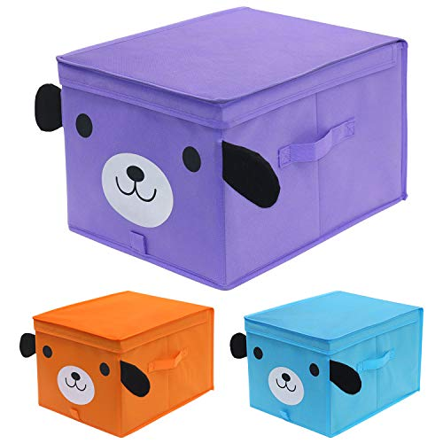 Onlyeasy Toy Chest Storage Bins with Lid, Large Kids Collapsible Storage Cube Box for Nursery, Closet, Playroom, 30 x 40 x 25 cm, Dog Pattern, 3 Colors, MXDGLB03P