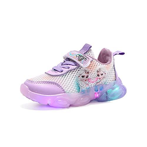 IRON JF ELSA Schuhe mädchen,mädchen Leuchtschuhe,Kinder led Sneakers,Hohles Mesh Stoffschuhe für Kinder mit Klettverschlus Sportschuhe, Turnschuhe Laufen Kinder (Color : Purple, Size : 27)