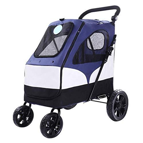 ADHW Haustier-Buggy für Hunde, Katzen, Tierbuggy für Reisen, Tierärzte, Behinderte, faltbar, Blau