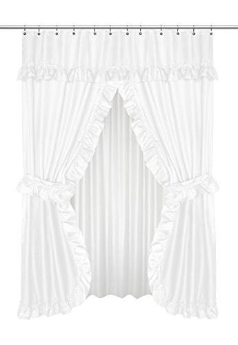 Carnation Home Fashions FSCD-L/21 Lauren Double Swag Shower Curtain, White