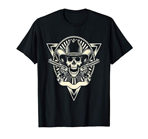 Outlaw Cowboy Skull Men Pro Gun Nd Trump Biker T-Shirt