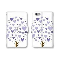 【ノーブランド品】 Qua phone QX KYV42 スマホケース 手帳型 木 ツリー ハート パープル ホワイト 紫色 白色 かわいい おしゃれ 携帯カバー KYV42 ケース 携帯ケース キュアフォン