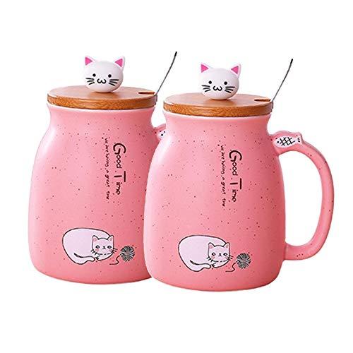 H HILABEE Taza de Cerámica de La Taza del Té de La Leche de 2pcs con La Tapa Y El Regalo de Las Tazas de Café Frío Calientes del Gato de La Cuchara